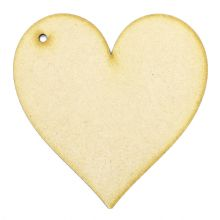 6mm MDF Wood Laser Cut Craft Shapes - Heart Tag
